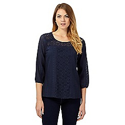 The Collection - Dark blue three-quarter sleeved lace blouse
