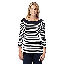 The Collection - Navy striped bardot top