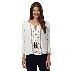 The Collection - Cream tasseled self tie neck bo-ho top