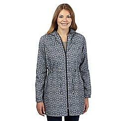 The Collection - Navy diamond tile print shower resistant pack-away mac jacket
