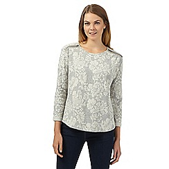The Collection - Grey floral zip shoulder jumper