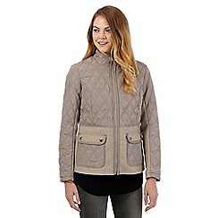 The Collection - Natural high neck quilted jacket