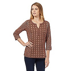 The Collection - Dark orange floral three quarter length sleeve top