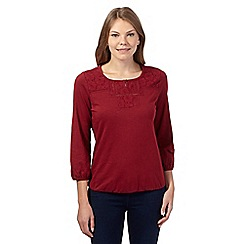 The Collection - Dark red woven yoke bubble top