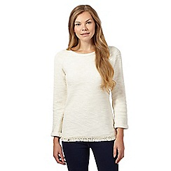 The Collection - Cream fringed knit top