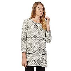 The Collection - Grey diamond print tunic jumper