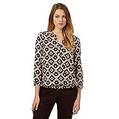The Collection - Natural three-quarter sleeved Tipi tile print blouse