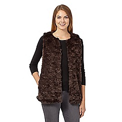 The Collection - Dark brown faux fur gilet