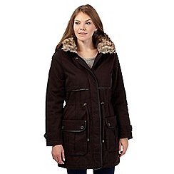 The Collection - Dark brown faux fur military coat
