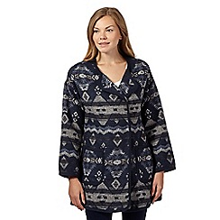 The Collection - Navy navajo print blanket coat