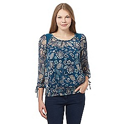 The Collection - Blue floral hem top