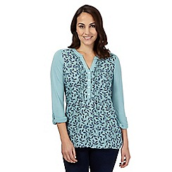 The Collection - Blue leaf print buttoned shirt