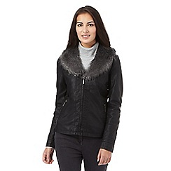 The Collection - Black faux fur trim leatherette jacket