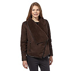 The Collection - Dark brown shearling jacket