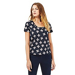 The Collection - Navy butterfly print top