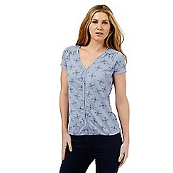 The Collection - Light blue butterfly print V neck top