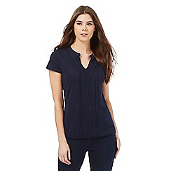 The Collection - Navy lace V neck top