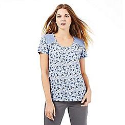 The Collection - Light blue lace shoulder top
