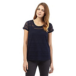 The Collection - Navy capped sleeve lace top