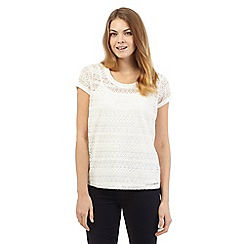 The Collection - Cream capped sleeve lace top