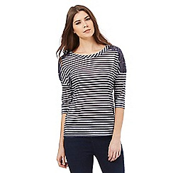 The Collection - Navy striped crochet shoulder top
