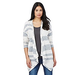 The Collection - Navy striped waterfall cardigan