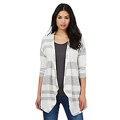 The Collection - Grey striped waterfall cardigan