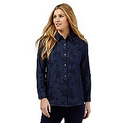 The Collection - Dark blue leaf print denim shirt