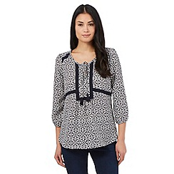 The Collection - Navy mosaic print top