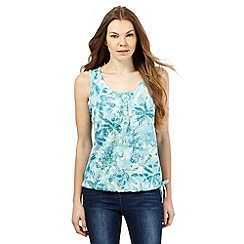 The Collection - Light turquoise sea stencil print bubble hem top
