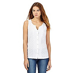 The Collection - White button cut-out sleeveless top