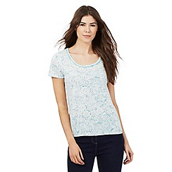 The Collection - Turquoise blue water petal print bubble hem top
