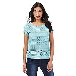The Collection - Aqua floral cut-out top