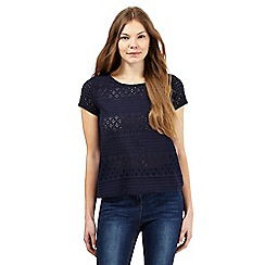 The Collection - Navy floral cut-out top