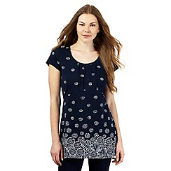 The Collection - Navy graduated water petal print tunic