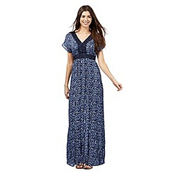 The Collection - Navy fossil print crochet trim maxi dress