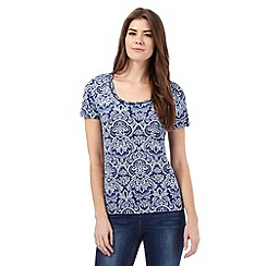 The Collection - Blue and white tile print bubble hem top