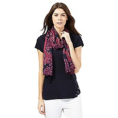 The Collection - Navy t-shirt and pink paisley print scarf set