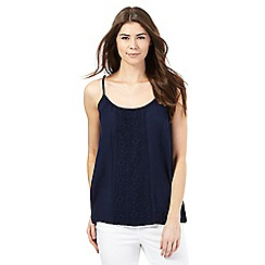The Collection - Navy crinkle cami top