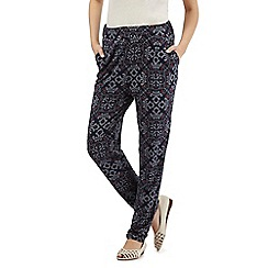 The Collection - Navy tiled dot floral print trousers