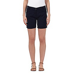 The Collection - Navy floral schiffly lace shorts