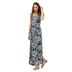 The Collection - Navy flower print maxi dress