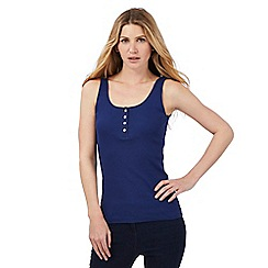 The Collection - Royal blue ribbed buttoned vest top