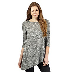 The Collection - Grey textured rib asymmetric hem top