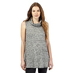 The Collection - Grey textured rib cowl neck sleeveless top