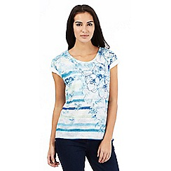 The Collection - Aqua striped floral print top