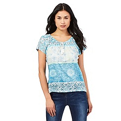 The Collection - Aqua tiled print gypsy top