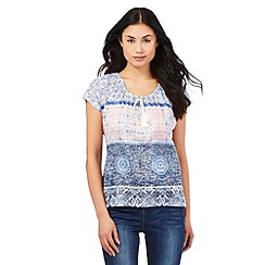 The Collection - Light blue tiled print gypsy top