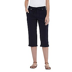 The Collection - Navy linen blend cropped trousers