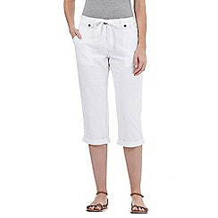 The Collection - White linen blend cropped trousers